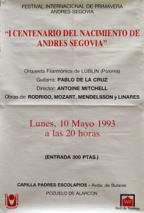 Antoine Mitchell conducts works from Rodrigo, Mozart, Mendelsson and Linares at the Festival Internacional de Primavera Andres Segovia, 1993